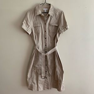 Belted Tan Jean Trench Utility Dress with Pockets